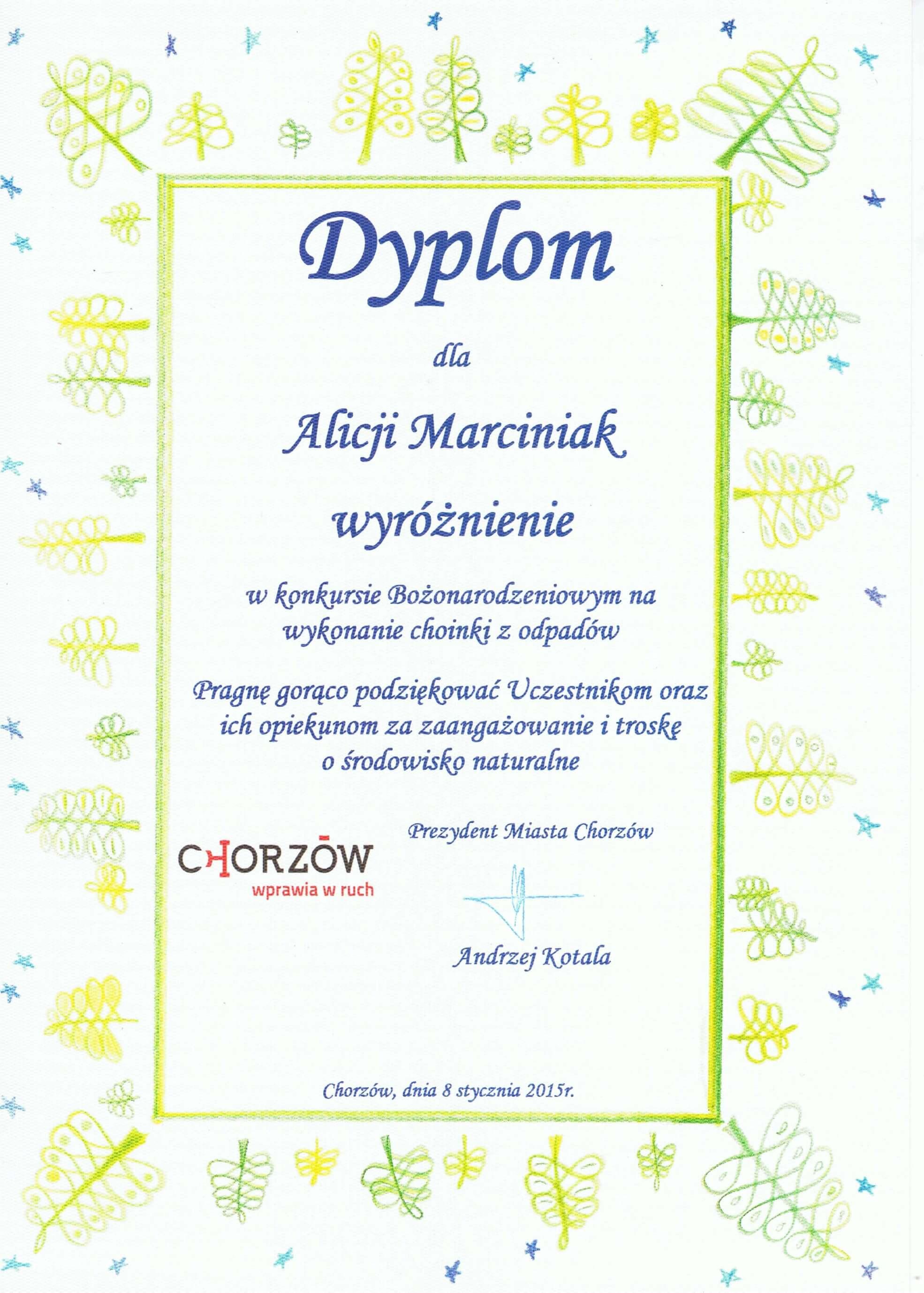 dyplom za udział w konkursie bożonarodzeniowym