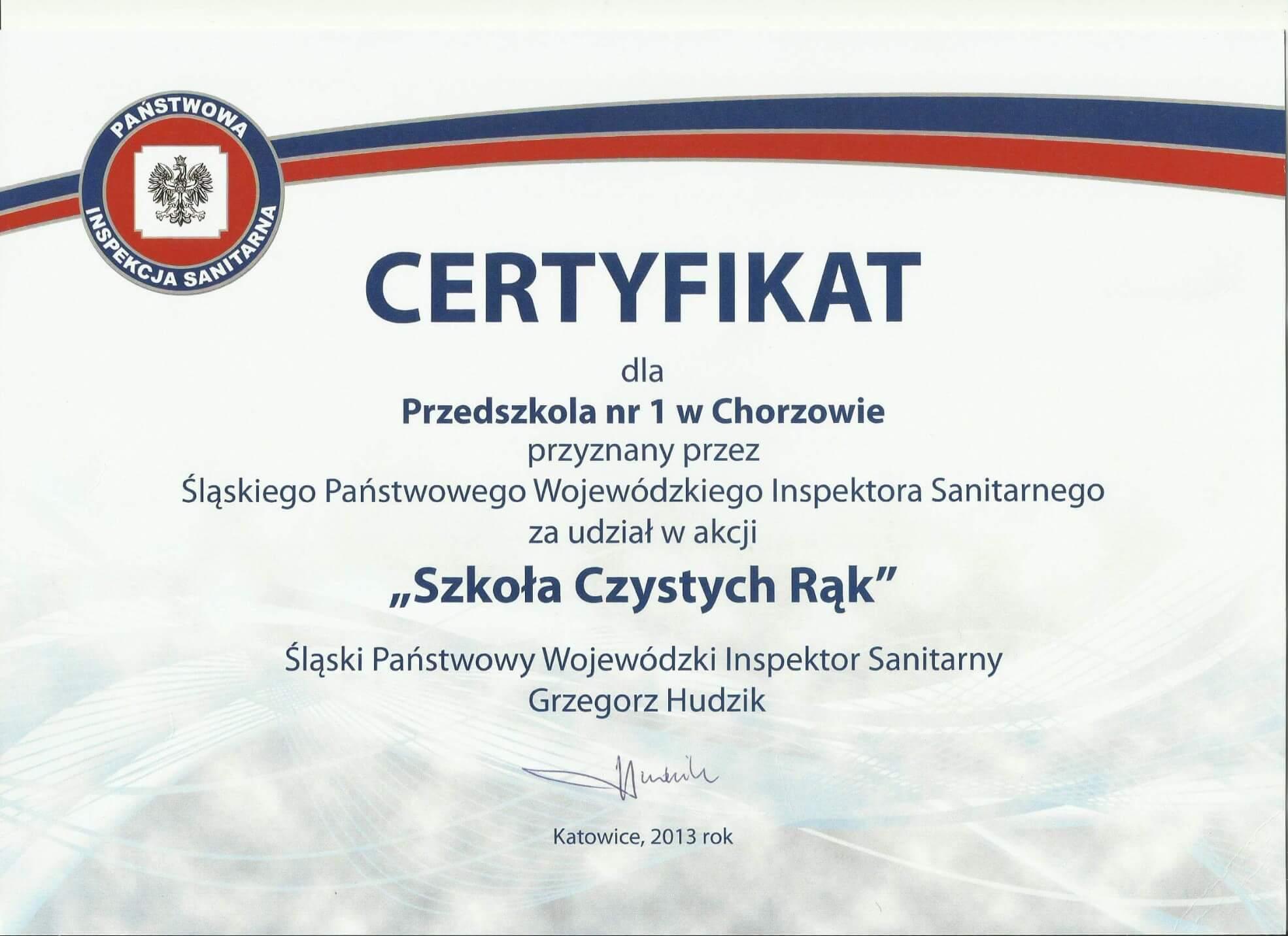 certyfikat szkoła czystych rąk