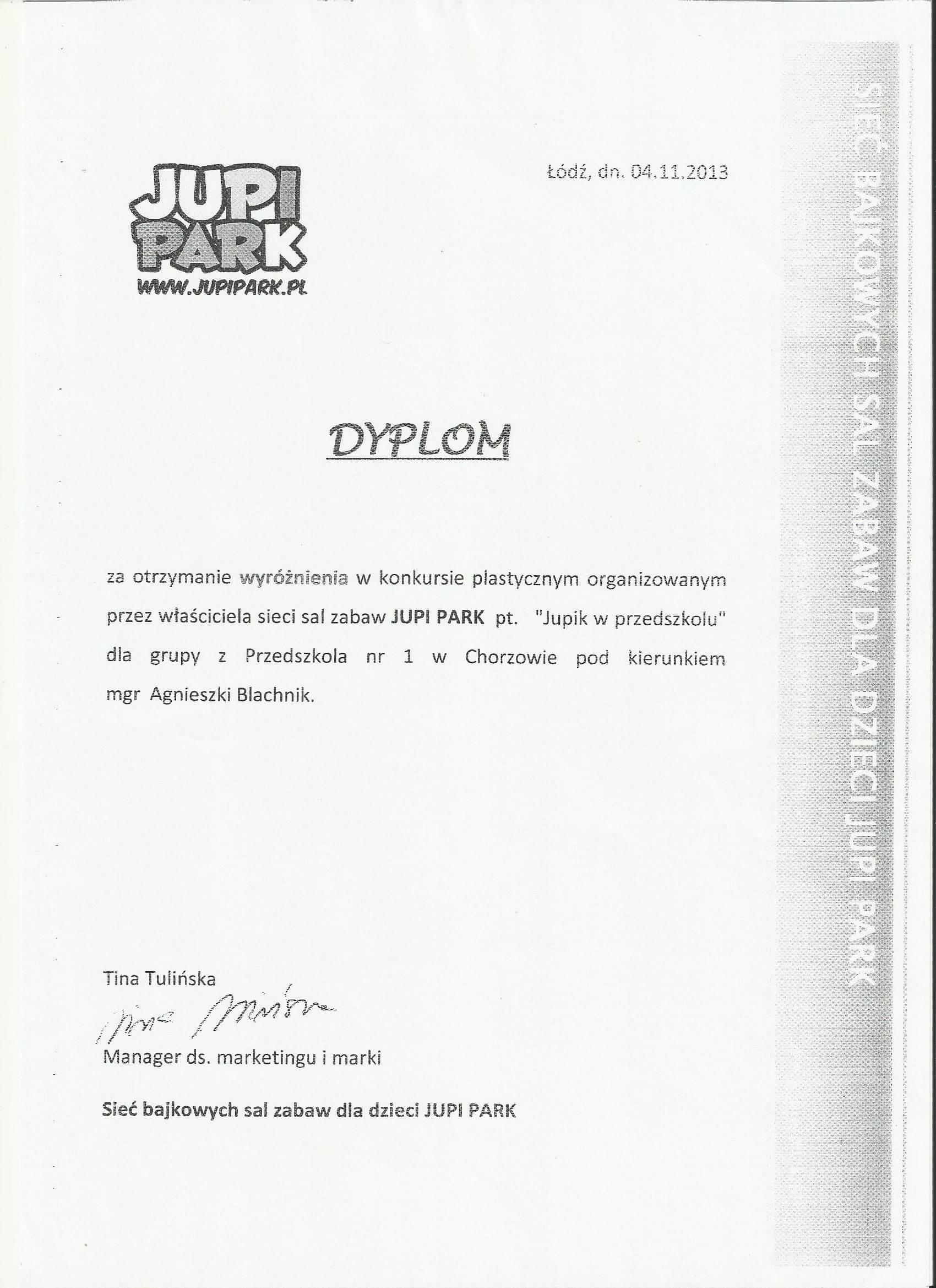 dyplom za udział w konkursie plastycznym