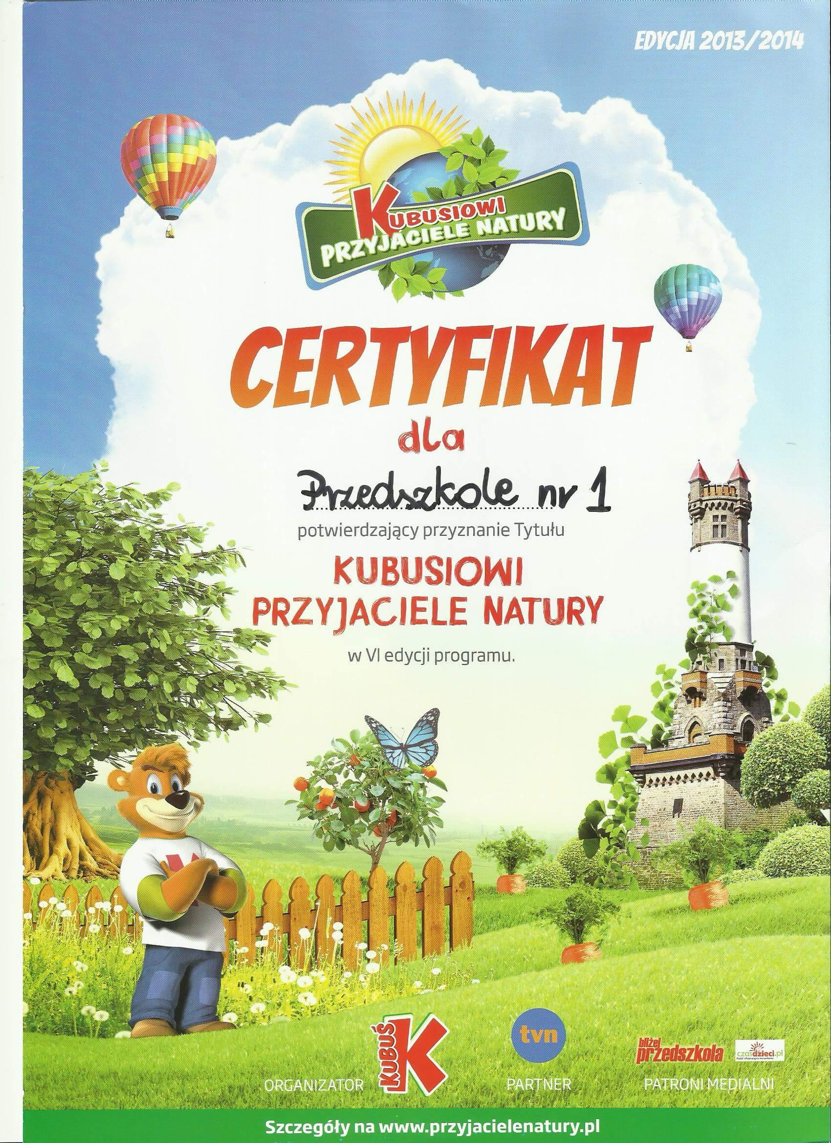certyfikat kubusiowi przyjaciele natury