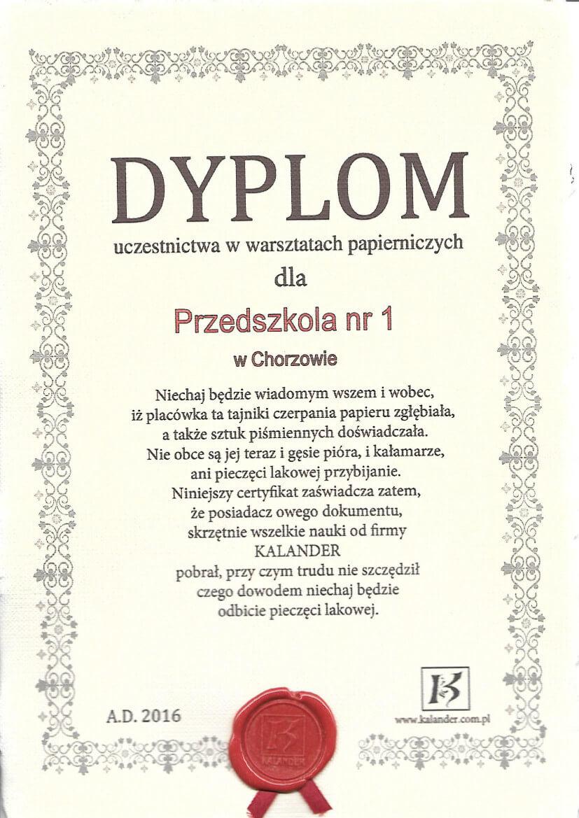 dyplom za udział w warsztatach papierniczych